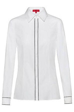 HUGO BOSS Slim-Fit Bluse mit Paspeln an der verdeckten Blende braun