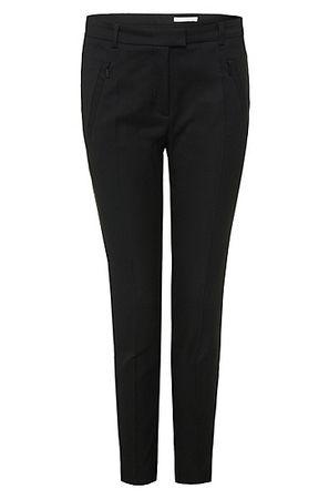 HUGO BOSS Slim-Fit Hose aus Material-Mix mit Baumwolle mit Reißverschluss am Saum schwarz