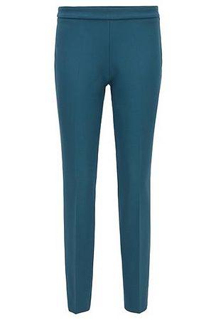 HUGO BOSS Slim-Fit Hose in Cropped-Länge aus portugiesischem Stretch-Gewebe grau