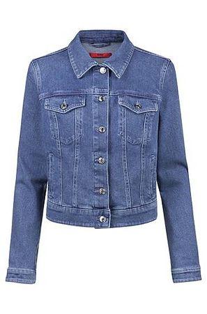 HUGO BOSS Slim-Fit Jacke aus Stretch-Denim mit geknöpften Brusttaschen blau