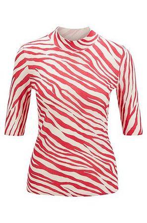 HUGO BOSS Slim-Fit Pullover aus Schurwolle mit Zebra-Print rot