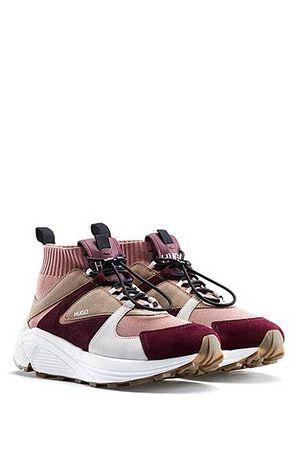 HUGO BOSS Sneakers aus Material-Mix mit Strickschaft und dicker Sohle braun
