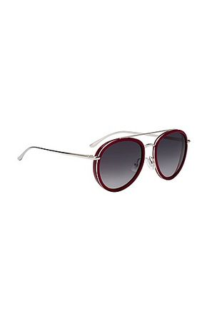 HUGO BOSS Sonnenbrille aus Acetat mit Doppelsteg grau
