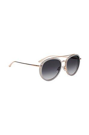 HUGO BOSS Sonnenbrille mit Doppelsteg und getönten Gläsern grau
