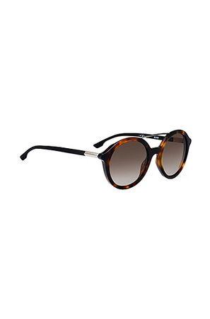 HUGO BOSS Sonnenbrille mit Doppelsteg und Havanna-Muster schwarz