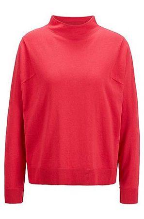 HUGO BOSS Stehkragen-Pullover aus Baumwolle mit Seide und Kaschmir rot