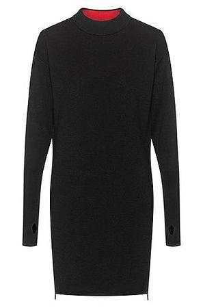 HUGO BOSS Strickkleid aus Woll-Mix mit seitlichen Reißverschlüssen schwarz