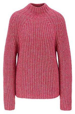 HUGO BOSS Strickpullover aus Baumwolle mit Alpaka und hohem Ausschnitt rot