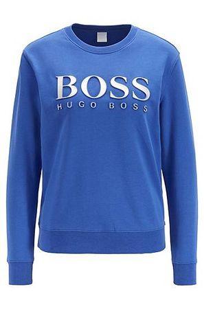 HUGO BOSS Sweatshirt aus Baumwoll-Terry mit 3D-Logo in Metallic-Optik blau