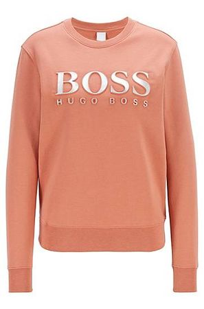 HUGO BOSS Sweatshirt aus Baumwoll-Terry mit 3D-Logo in Metallic-Optik orange