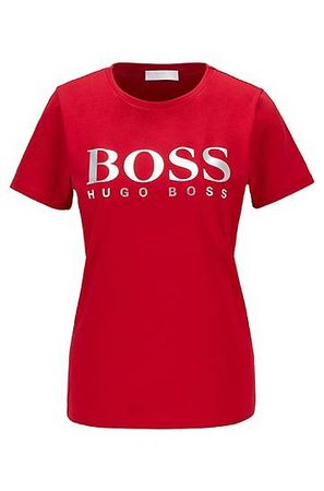HUGO BOSS T-Shirt aus Bio-Baumwolle mit Logo-Print rot