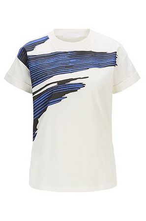 HUGO BOSS T-Shirt aus merzerisierter Baumwolle mit 3D-Print grau