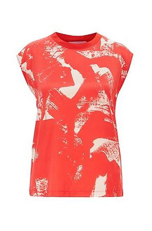 HUGO BOSS T-Shirt mit Seiden-Einsatz rot