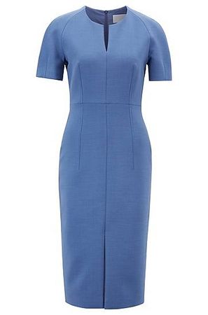 HUGO BOSS Tailliertes Business-Kleid aus italienischem Gewebe blau