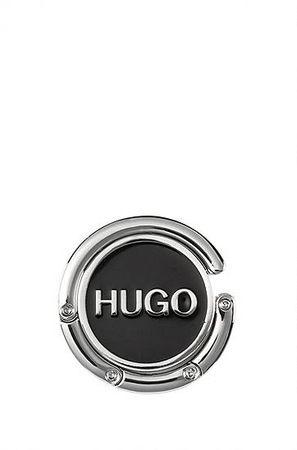 HUGO BOSS Taschenhalter aus lackiertem Metall mit Silikon-Logo grau