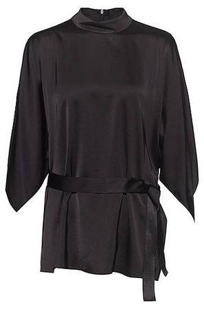 HUGO BOSS Top mit Gürtel, Kimonoärmeln und Stehkragen schwarz