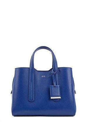 HUGO BOSS Tote Bag aus weich strukturiertem italienischem Leder blau