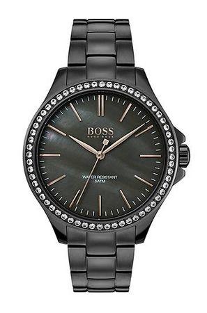 HUGO BOSS Uhr aus Edelstahl mit Perlmutt-Zifferblatt und Kristallen grau