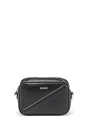 HUGO BOSS Umhängetasche aus Kunstleder mit Reißverschluss-Detail grau