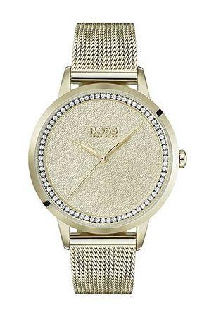 HUGO BOSS Vergoldete Uhr mit strukturiertem Zifferblatt und Mesh-Armband braun