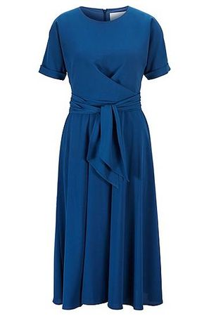 HUGO BOSS Wickelkleid aus leichtem Stretch-Krepp in Knitter-Optik blau