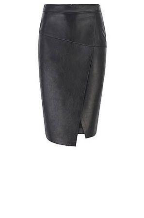 HUGO BOSS Wickelrock aus Leder mit asymmetrischem Saum