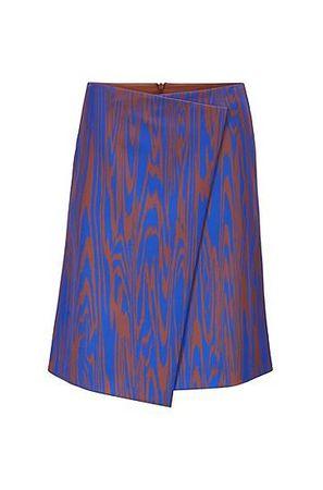 HUGO BOSS Wickelrock in A-Linie mit exklusivem Print in Wellenoptik blau