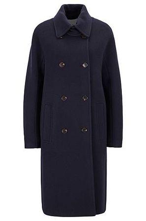 HUGO BOSS Zweireihiger Relaxed-Fit Mantel aus gefilztem Woll-Mix mit Kaschmir schwarz