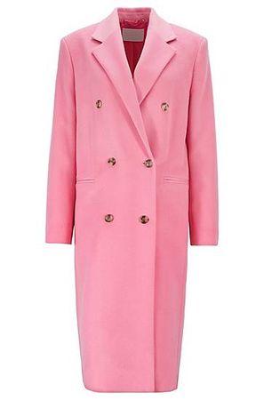 HUGO BOSS Zweireihiger Relaxed-Fit Mantel aus Schurwoll-Zibeline rosa
