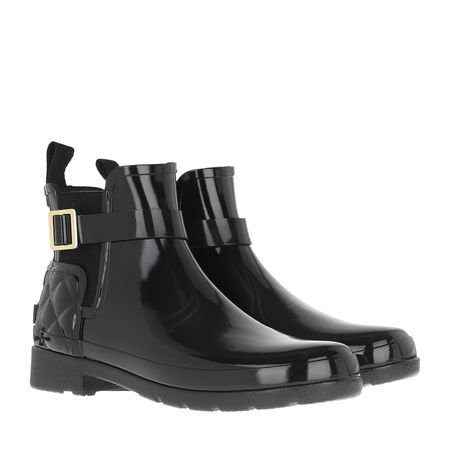 Hunter  Boots  -  Refined Gloss Quilt Chelsea Boots Black  - in schwarz  -  Boots für Damen grau