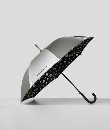 Karl Lagerfeld K/IKONIK METALLIC-SCHIRM grau