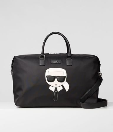 Karl Lagerfeld K/Ikonik Weekender aus Nylon und Leder grau