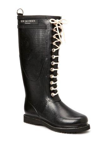 Ilse Jacobsen Rain Boot - Long, Classic With Laces schwarz