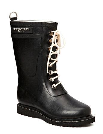 Ilse Jacobsen Rain Boot - Mid Calf, Classic With Laces schwarz