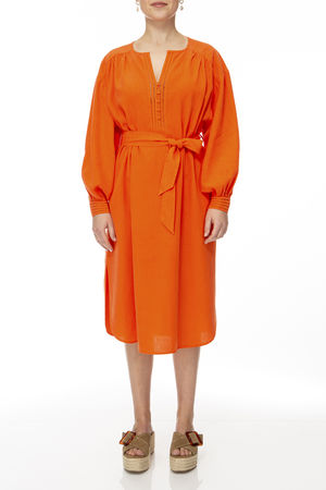 IVI collection SOLID LINEN Dress coral