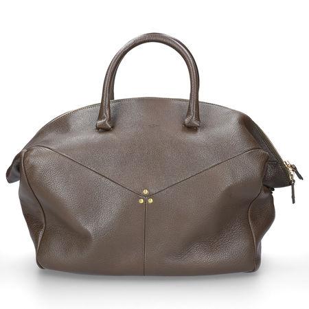 Jerome Dreyfuss  Handtasche GERALD Kalbsleder Logo nieten braun grau