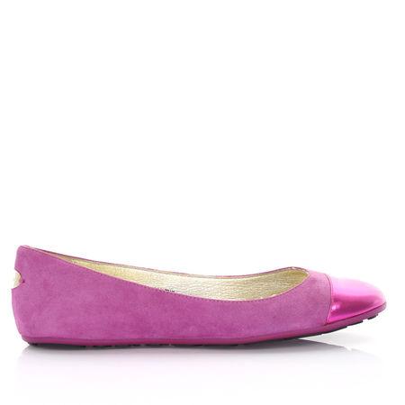 Jimmy Choo  Ballerinas Kalbsleder  Veloursleder Cap Toe pink lila