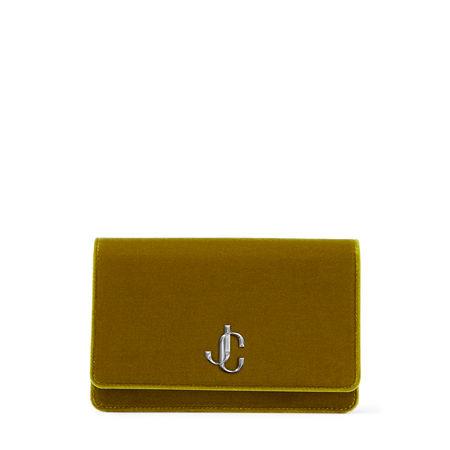 Jimmy Choo  PALACE Brieftasche aus zitrusfarbenem Samt mit Kettenträger und JC-Logo Damen Zitrone gruen
