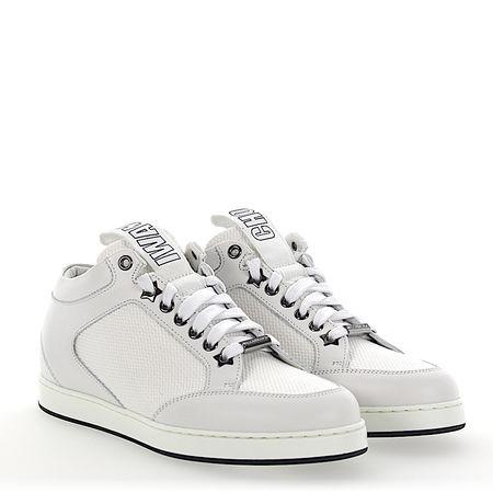 Jimmy Choo  Sneaker low Kalbsleder  Textil Logo weiß grau