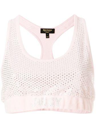Juicy Couture  Cropped-Top mit Swarovski-Kristallen - Rosa beige