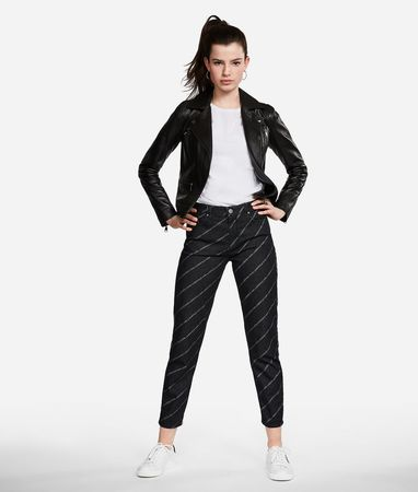Karl Lagerfeld Jeans mit geradem Bein und Logoprint grau