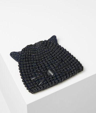 Karl Lagerfeld Lurex-Beanie im Choupette-Design weiss