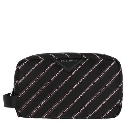Karl Lagerfeld  Necessaire  -  Stripe Logo Nylon Washbag Black  - in schwarz  -  Necessaire für Damen schwarz