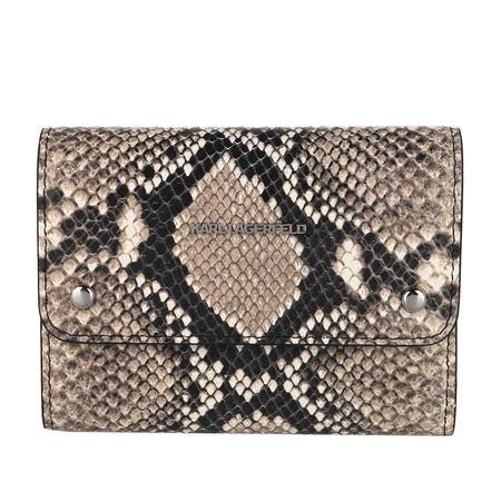 Karl Lagerfeld  Portemonnaie - Ikonik Snake Medium Flap Wallet - in beige - für Damen braun