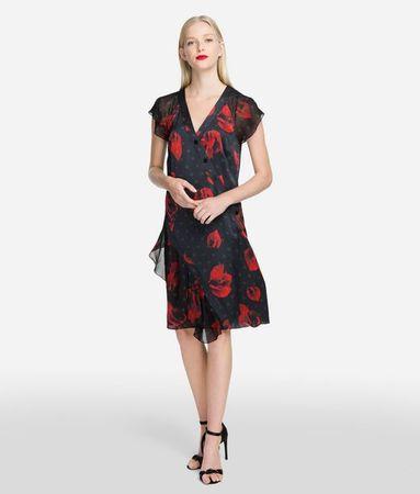 Karl Lagerfeld Rüschenkleid mit Blumenmuster weiss
