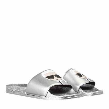 Karl Lagerfeld  Slipper & Pantoletten - KONDO II Ikonic Slide - in silber - für Damen grau