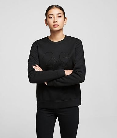 Karl Lagerfeld Sweatshirt mit Silhouette Karl x Olivia grau