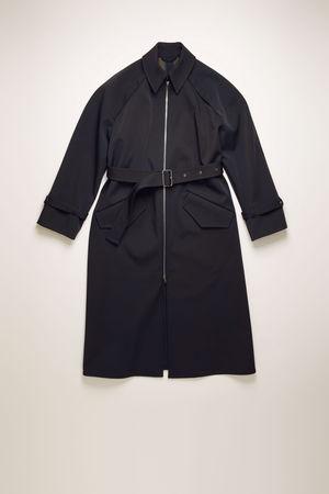Acne Studios  FN-WN-OUTW000247 Marineblau/Khaki  Trenchcoat mit Reißverschluss vorne braun