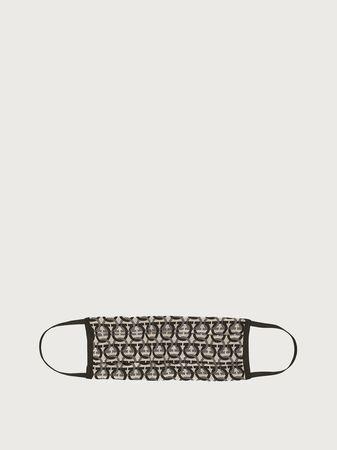Salvatore Ferragamo  Damen Gesichtsmaske mit Beutel – Größe L Schwarz/knochenweiß