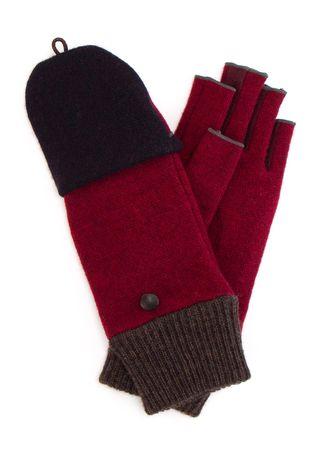 L'apéro Handschuhe aus Woll-Mix in Weinrot pink